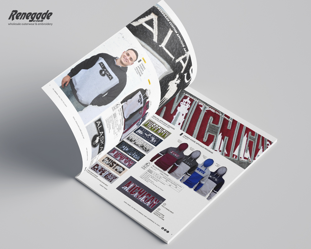 2020 renegade catalog mockup pages one and two mens womens sweatshirts applique
