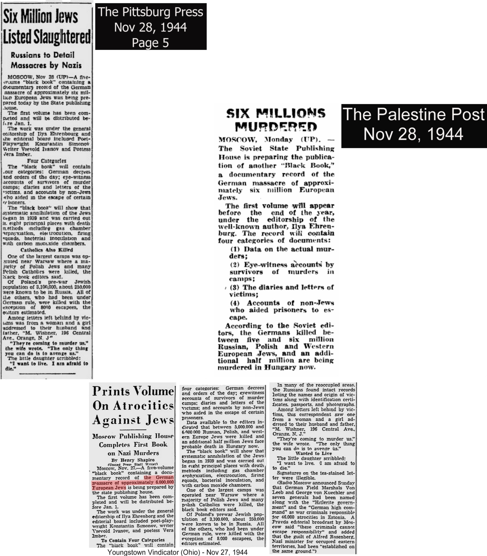 1944SixMillionDeadClippings