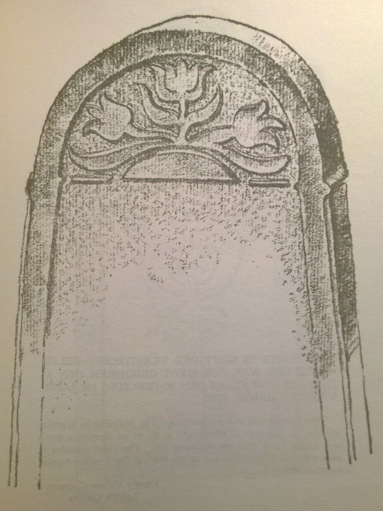p. 117; The reverse side of this tombstone shows a very effective use of the arc of the winter solstice, the ur-bogen (see Introd.), found quite frequently in Pennsylvania German folk art.