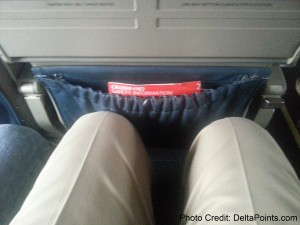 Leg room on a Delta Connection CRJ-200 regional jet.