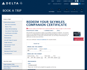 error on delta-com trying to spend my delta amex bogof cert