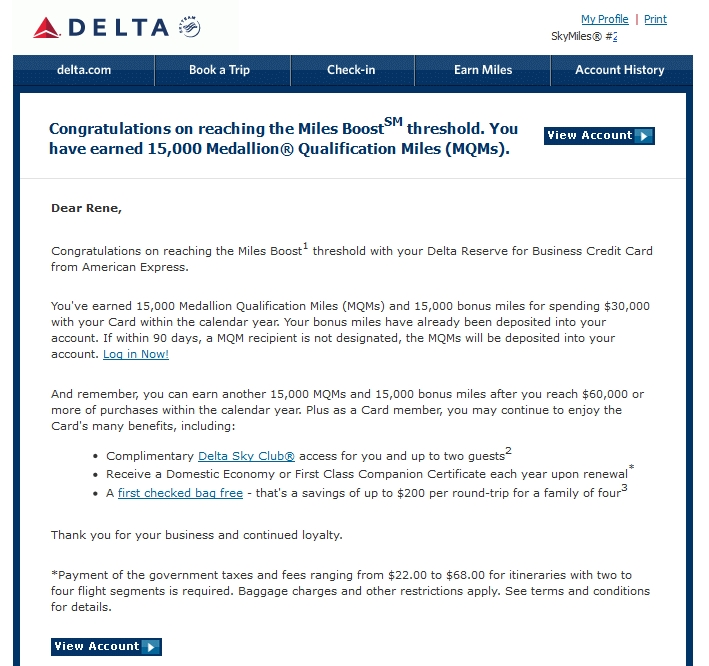 My email from delta time to deposit my mqms from my delta for Delta reserve business card