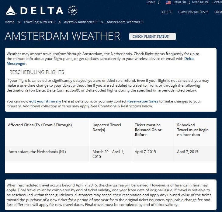 29march Amsterdam Weather Alert Delta