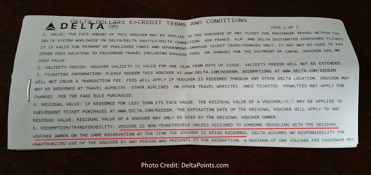 terms and conditions from delta bump voucher