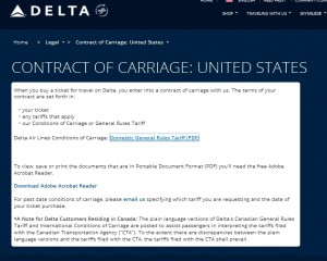 delta air lines contract of crriage usa