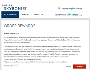 screenshot from delta skybonus page what rewards to order
