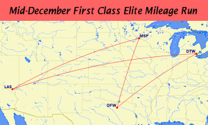 Dallas to Las Vegas December 2015 Delta Air Lines Elite Mileage Run RouteMap