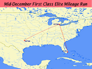 Detroit to Fort Lauderdale First Class December 2015 Route Map
