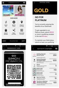 shot of the simon mall app for simon points