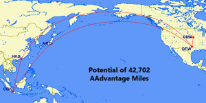 American Airlines AAdvantage Mileage Run OMA-DFW-HKG-CGK March 2016 Route Map