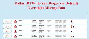DFW-DTW-SAN March Mileage Run Schedules