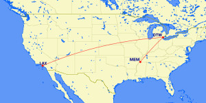 Los Angeles to Memphis Delta Air Lines Mileage Run January February 2016 Route Map