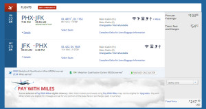 Phoenix to New York (JFK) Delta Booking Weekend