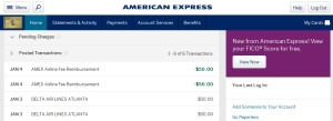 amex gold airline fee reimbursment posted for delta egift card