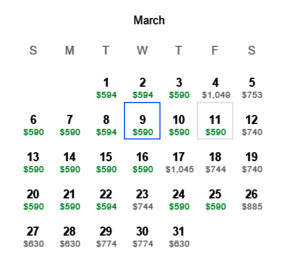Houston to Hong Kong American Airlines March 2016 Mileage Run March Calendar