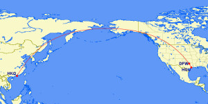 Houston to Hong Kong American Airlines March 2016 Mileage Run RouteMap