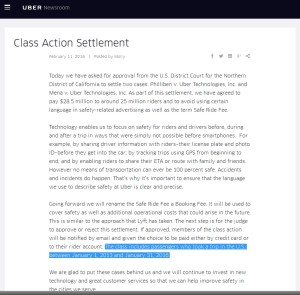 uber class action settlement on the way - look for credits