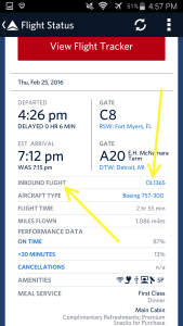 Use Fly Delta APP to track inbound airplane and arrival gate and time renespoints blog (3)