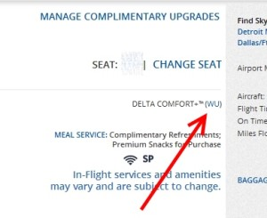delta codes the comfort plus upgrade as WU