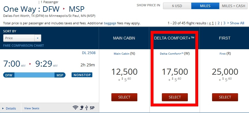 price for comfort plus in points