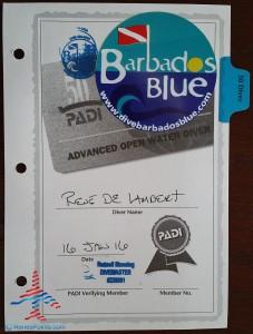 renes 50th dive was in Barbados with Barbados Blue PADI divers