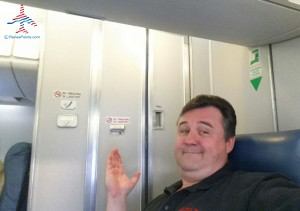 Seat next to a toilet onboard a Delta Connection CRJ-200 regional jet.