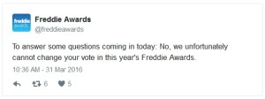 tweet from freddie awards about alaska
