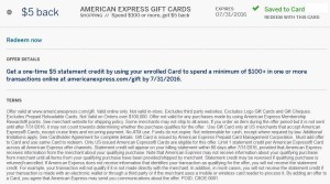 amex money back on gift cards