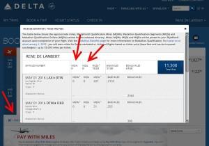 delta flights showing no mqm earnings