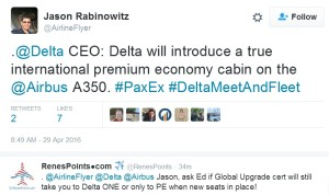 delta to add real PE seats to a350 jets