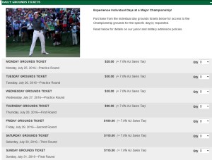price for just tickets to the event pga