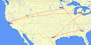 AUS-ATL-MSP-SFO-DTW-AUS MR Map