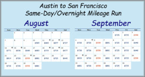 AUS-SFO MR Fare Calendar