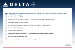 Delta Air Lines SkyMiles survey for 250 points RenesPoints blog review (10)