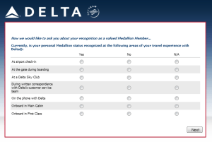 Delta Air Lines SkyMiles survey for 250 points RenesPoints blog review (12)