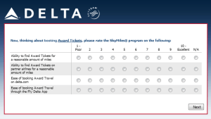 Delta Air Lines SkyMiles survey for 250 points RenesPoints blog review (8)