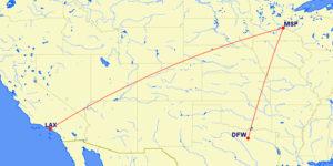 LAX-DFW Delta MR Aug 10 2016 Map