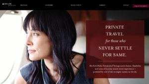 screen shot from delta private jets homepage