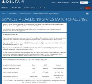 status match challenge to delta air lines