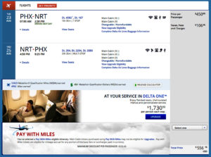 PHX-NRT Delta Trip Summary