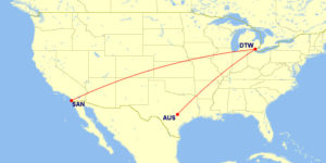 San Diego to Dallas Flight RouteMap