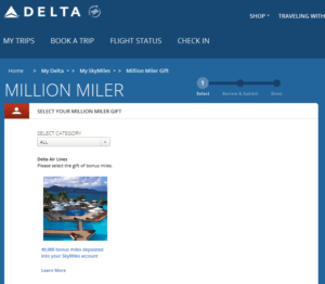 Delta million miler gift choices from Delta - com RenesPoints blog choice (2)
