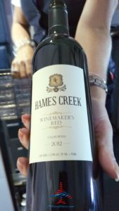 Hames Creek Winemakers Red California 2012 wine Delta Air Lines 1st class RenesPoints blog