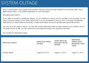 delta waver for power outage due to Delta equipment fail