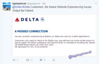 Delta IT Glitch Twitter Post