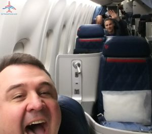 Rene and Greg the Frequent Miler in Delta One seats from SEA to DTW RenesPoints blog