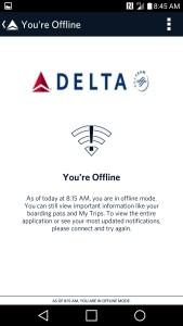 fly delta app offline mode frustrating