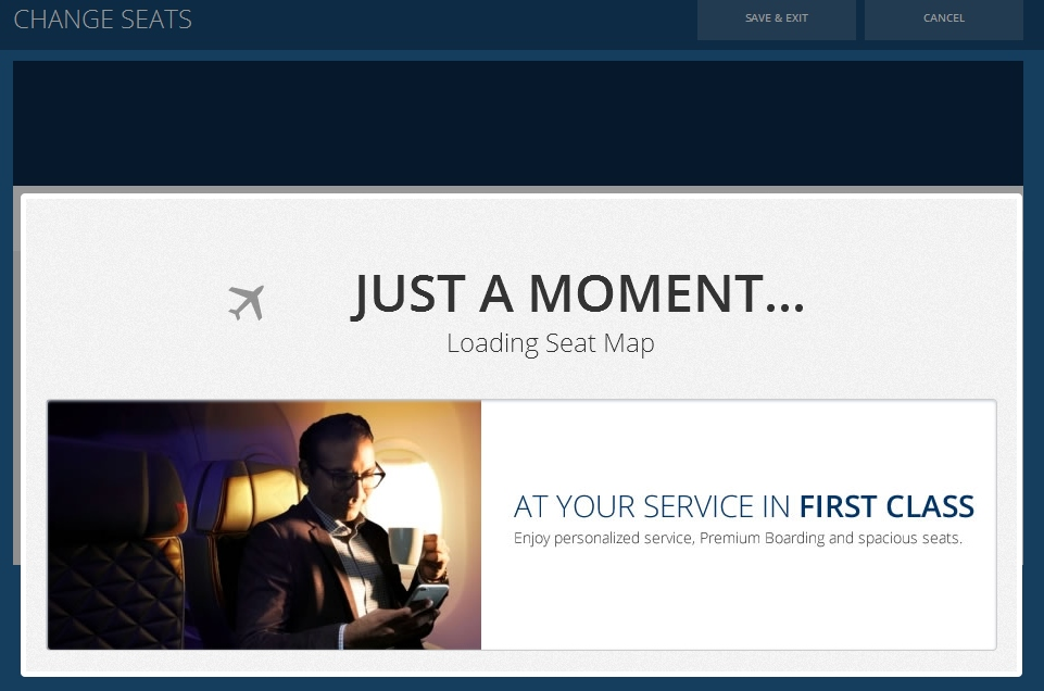 popup when you are about to change your seats on delta