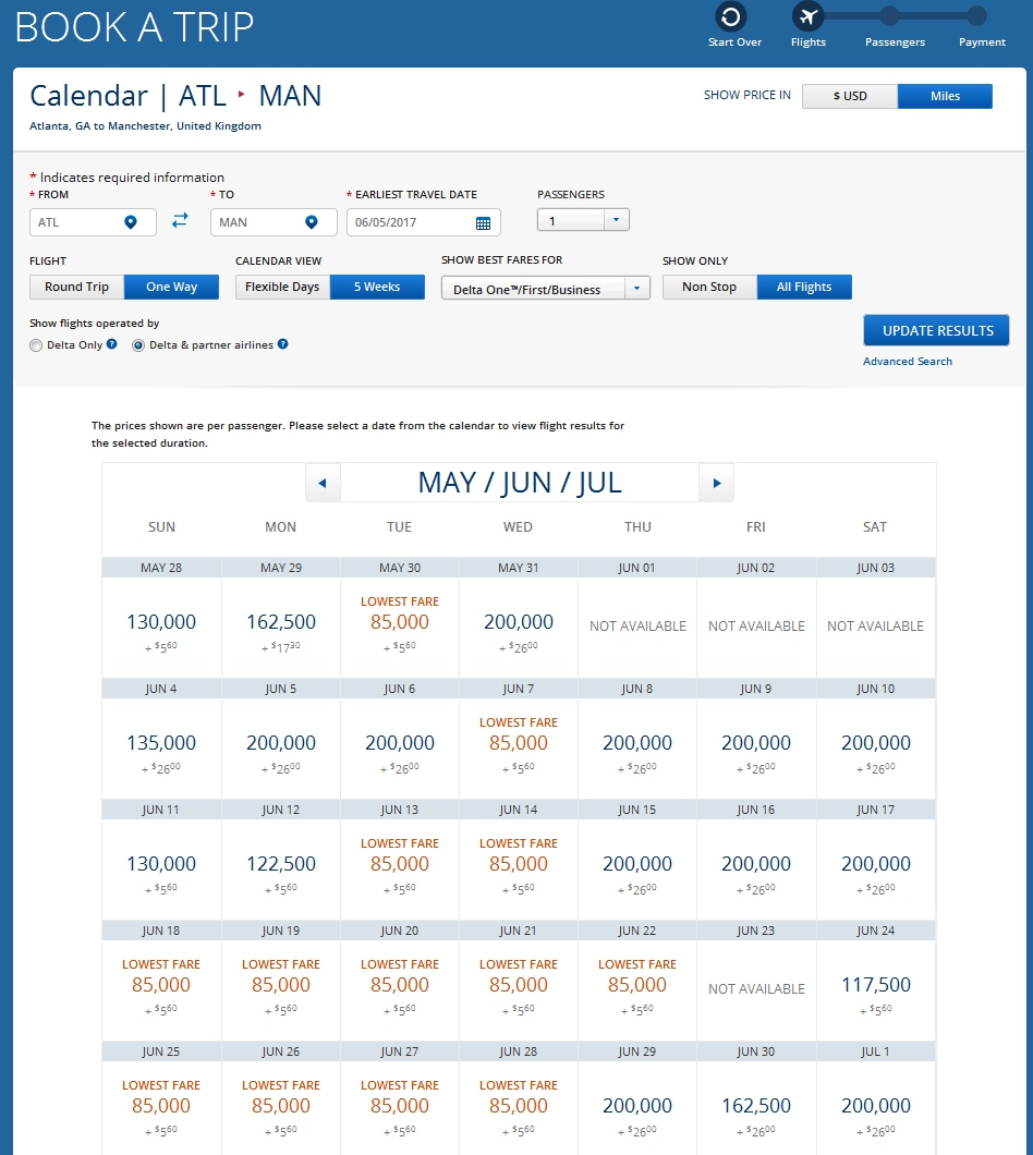 delta one award prices from atl to man for june 2017