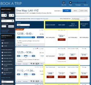delta pricing e basic fare higher than main cabin or comfort plus